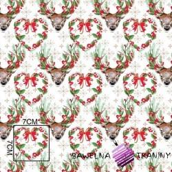 Bawełna wzór świąteczny renifery zielone na białym tle