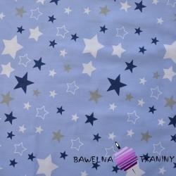 Bawełna gwiazdozbiór biało granatowo szary na niebieskim tle