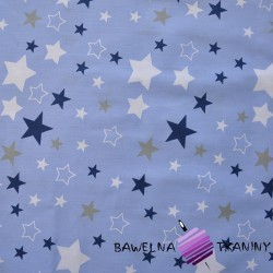 Cotton white & navy, gray stars on blue background