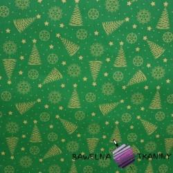 Bawełna Wzór świąteczny choinki złocone i połyskujące na zielonym tle