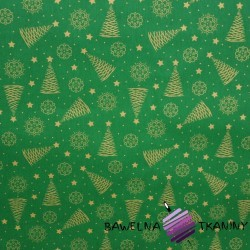 Cotton Gilded and shimmering Christmas trees on a green background