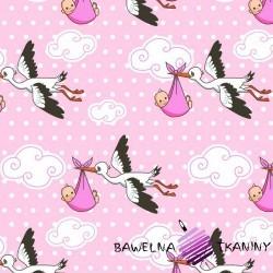 Bawełna bociany na różowym tle