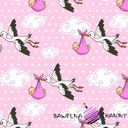 Cotton storks on a pink background