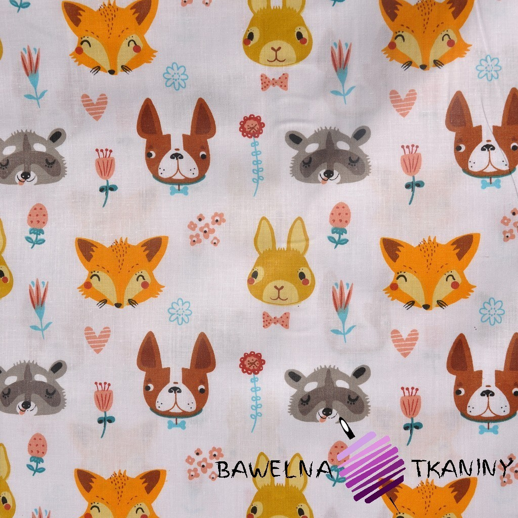 Bawełna zwierzaki pomarańczowe