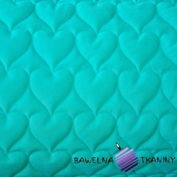 velvet turquoise quilted in hearts