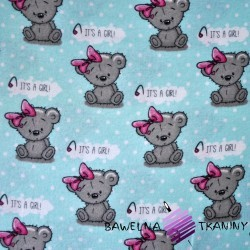 Flannel GIRL bears on blue with white dots