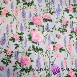 Bawełna lawenda z różami na szarym tle