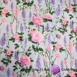 Cotton lavender with roses on a gray background