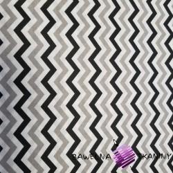 Bawełna zygzak mały szaro biało czarny