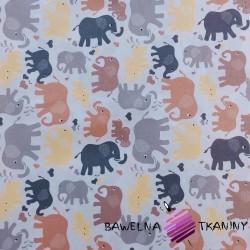 Bawełna słonie brązowo żółte na białym tle
