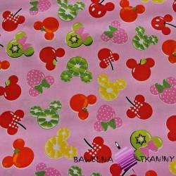 Bawełna MIKI owocowe na różowym tle