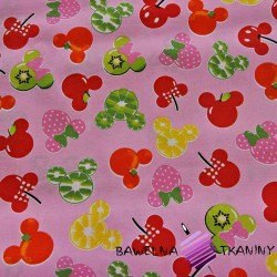 Cotton fruits mickey mouse on pink background