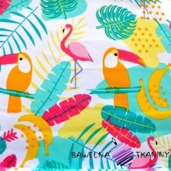 Bawełna tukany i flamingi pastelowe na białym tle