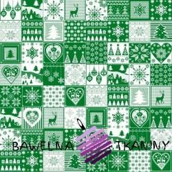 Wzór świąteczny patchwork drobny biało zielony