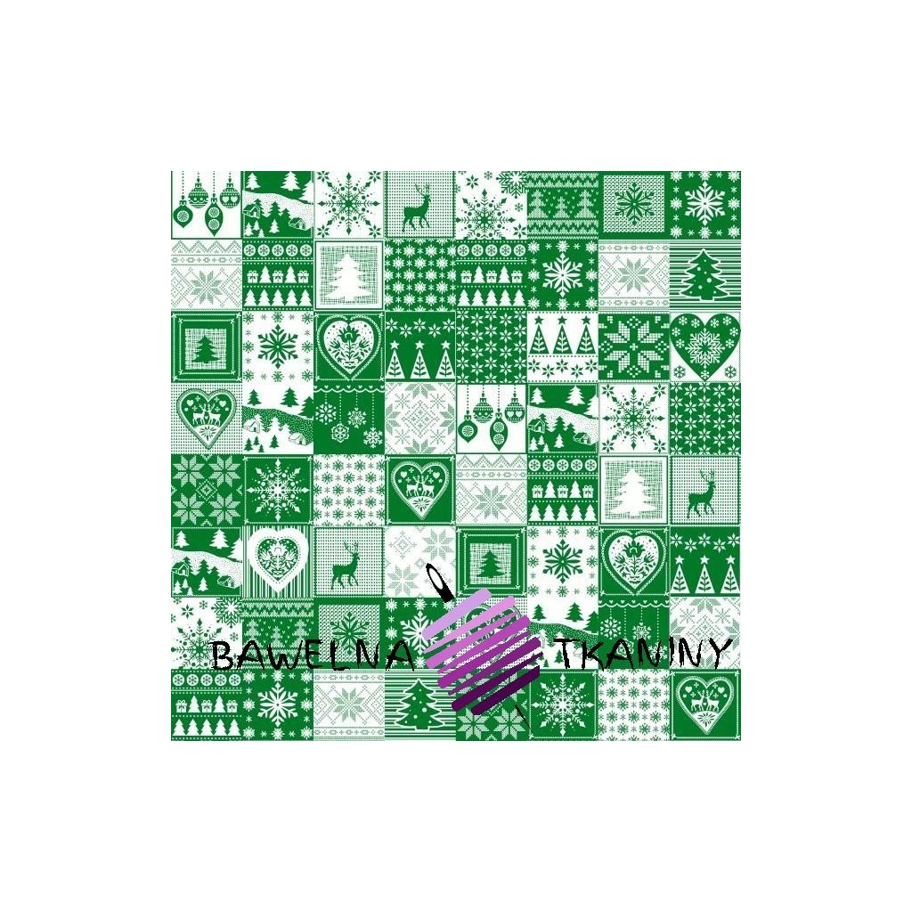 Bawełna Wzór świąteczny patchwork drobny biało zielony