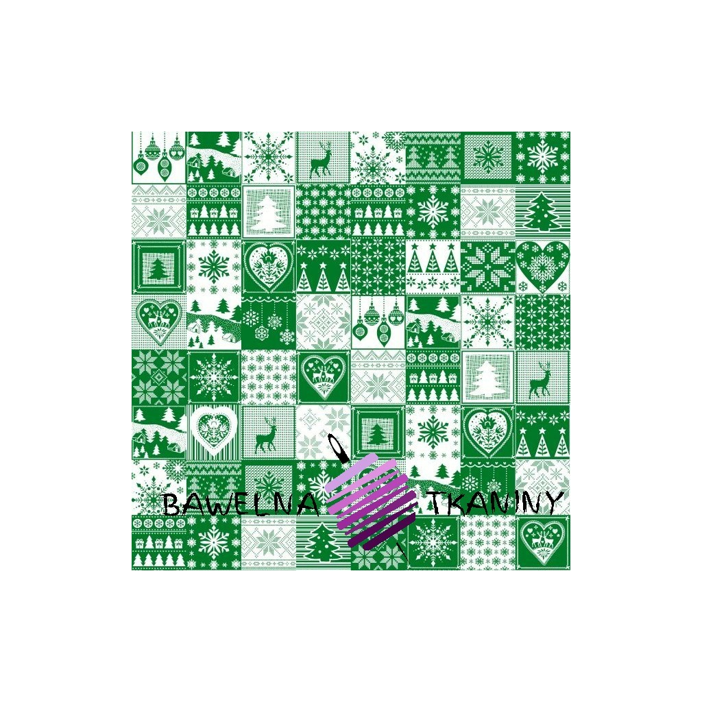 Cotton Christmas pattern patchwork green and white