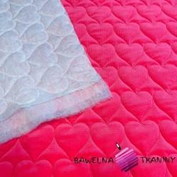 Velvet pikowany różowy - serduszka