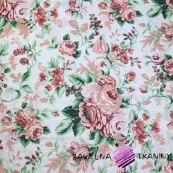 Bawełna kwiaty róże cygańskie pudrowe róż