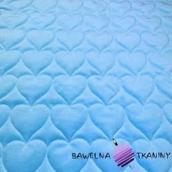 Velvet pikowany błękitny (Sky blue) - serduszka