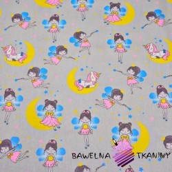 Cotton Fairy princesses with unicorns on gray background