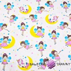 Cotton Fairy princesses with unicorns on white background