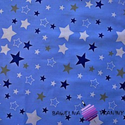 Flannel white & navy, gray stars on blue background