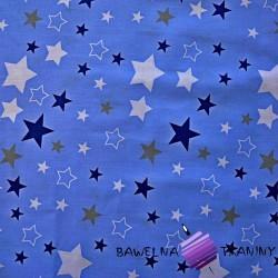 Flannel white & navy, gray stars on blue background