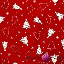 Bawełna Wzór świąteczny choinki białe na czerwonym tle