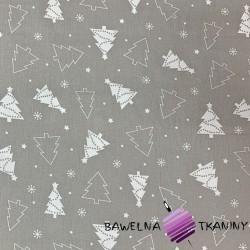 Bawełna Wzór świąteczny choinki białe na szarym tle