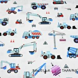 Bawełna Roboty budowlane niebieskie na białym tle