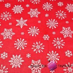 Bawełna wzór świąteczny śnieżynki duże białe na czerwonym tle