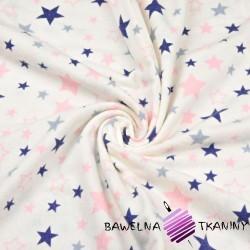 Flanela gwiazdki różowo granatowe na białym tle
