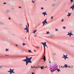 Flannel white & navy stars on pink background