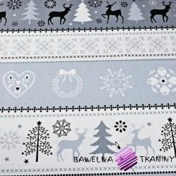 Bawełna Wzór świąteczny sweter szaro biały