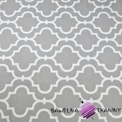 Bawełna Mozaika orientalna biała na szarym tle