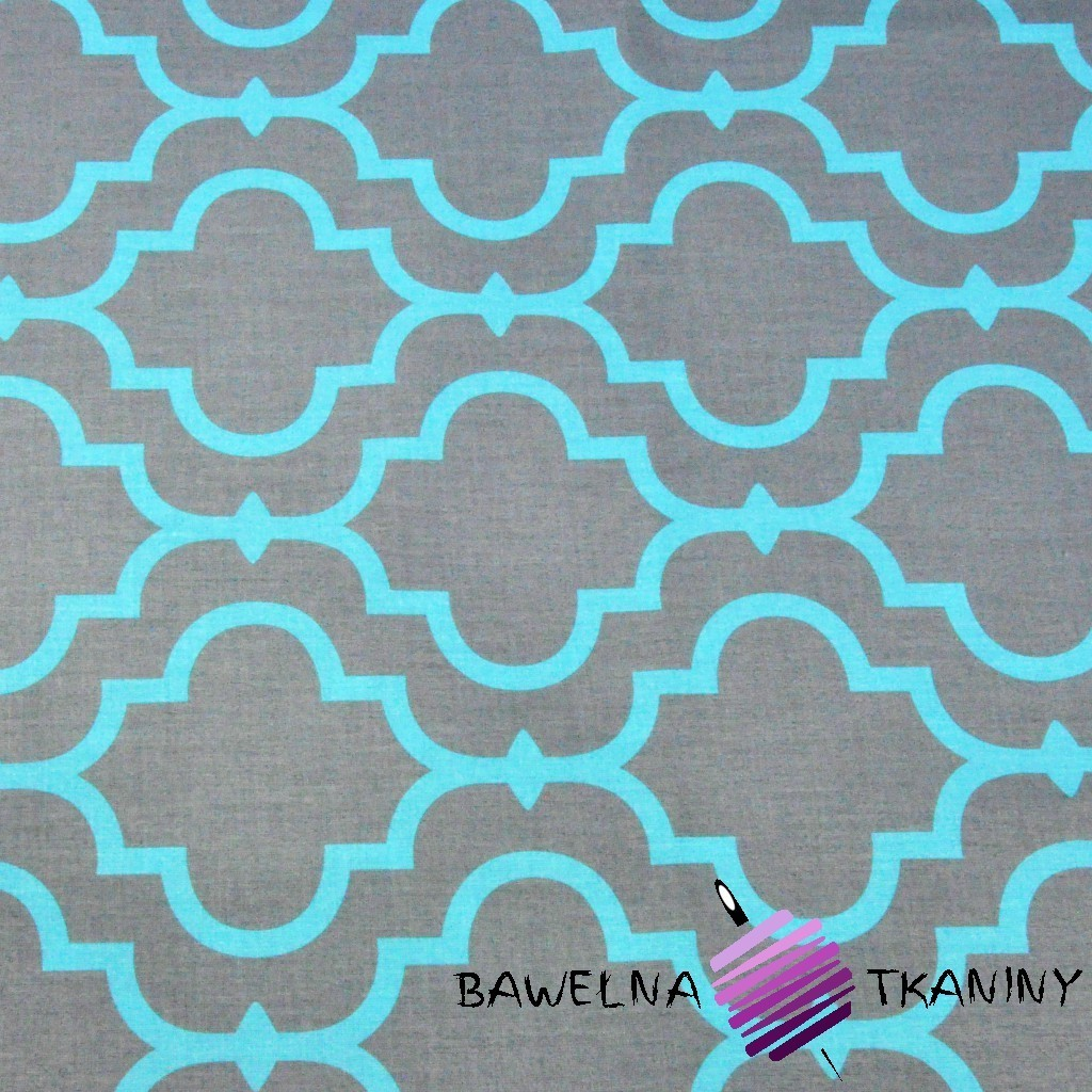 Bawełna Mozaika orientalna turkusowa na szarym tle