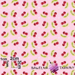 Bawełna wisienki na różowym tle
