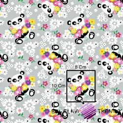 Cotton panda bear with flowers on gray background
