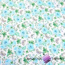 Bawełna kwiatki z motylkami błękitno zielone na białym tle