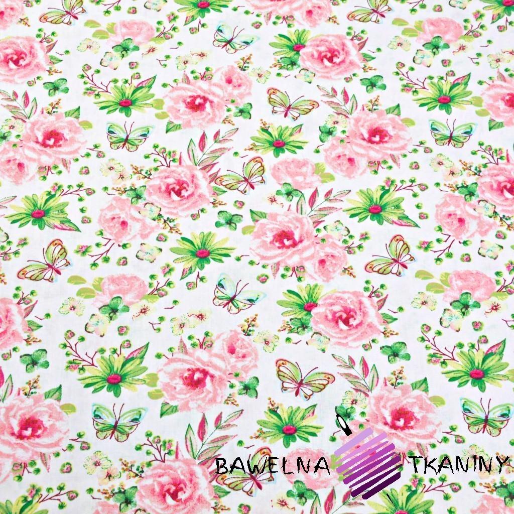 Bawełna kwiatki z motylkami różowo zielone na białym tle