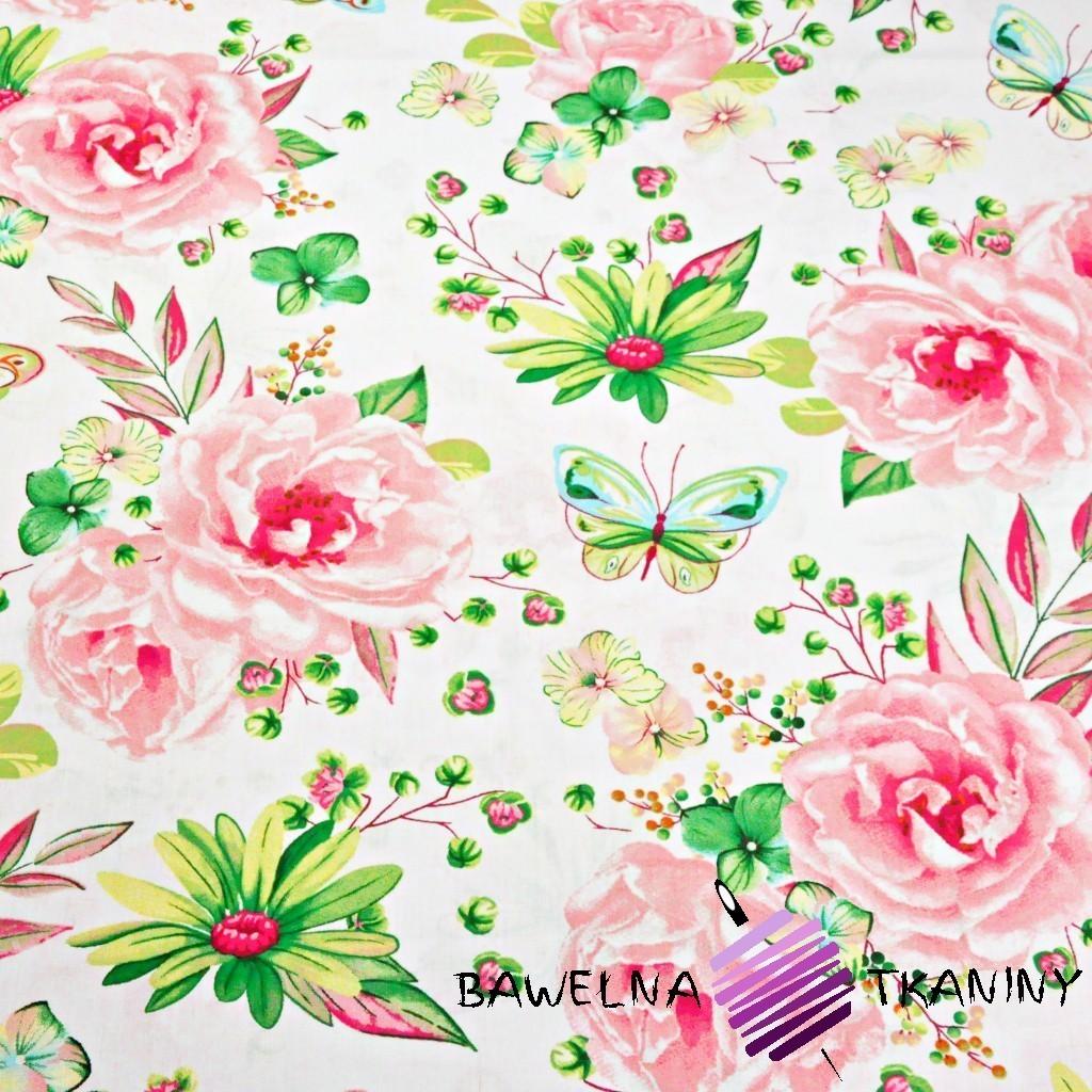 Bawełna duże kwiatki z motylkami różowo zielone na białym tle