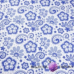 Cotton blue tablecloth on white background
