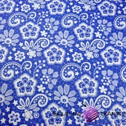 Cotton white tablecloth on blue background
