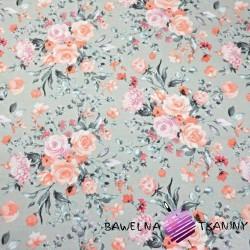 Bawełna kwiaty bukiety łososiowe na szarym tle