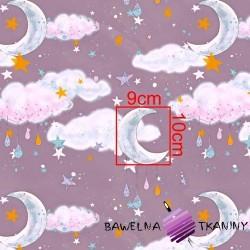 Bawełna złocona księżyce z chmurkami na fioletowym tle