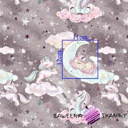 Bawełna złocona jednorożce z chmurkami na szaro fioletowym tle