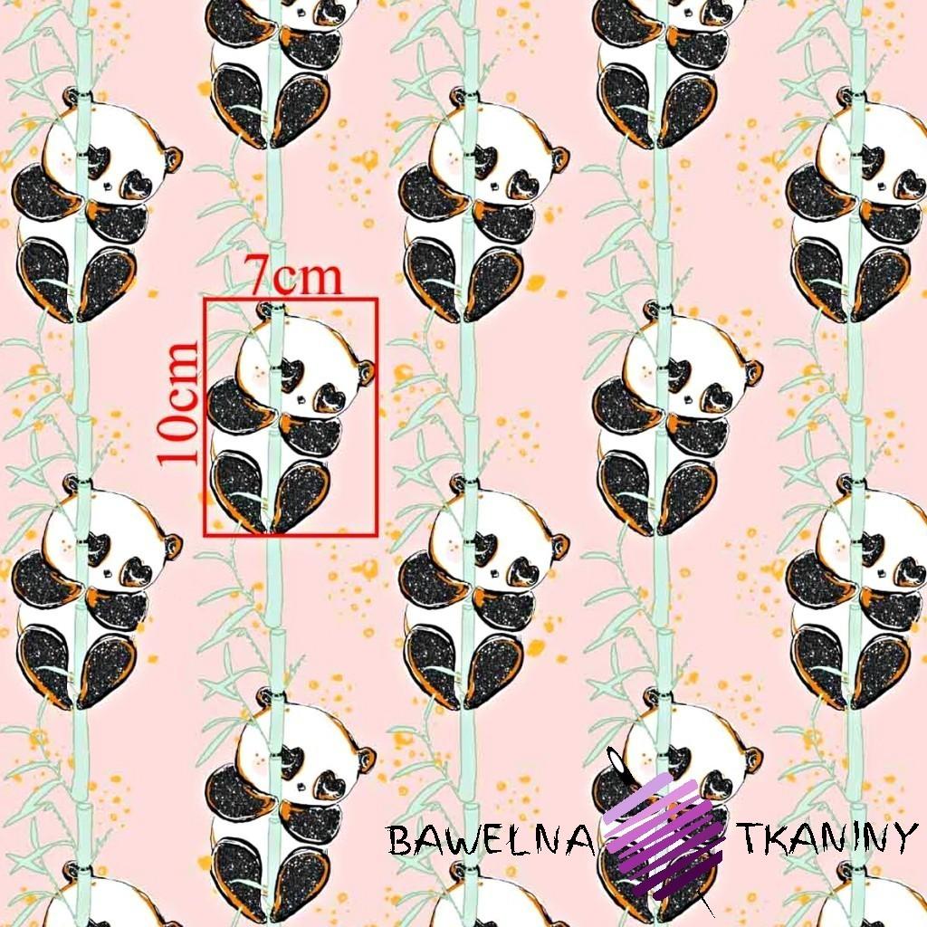 Bawełna złocona pandy z bambusem na różowym tle