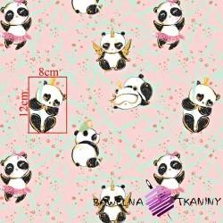 Bawełna złocona szalone pandy z bambusem na różowym tle