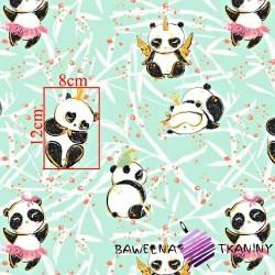 Bawełna złocona szalone pandy na miętowym tle
