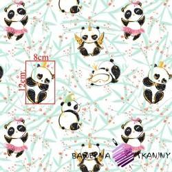 Bawełna złocona szalone pandy na białym tle